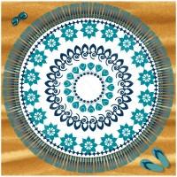 Голяма семейна плажна кърпа Alfresco 180см, бяло, тюркоаз и синьо