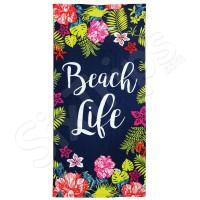 """Синя плажна кърпа с флорални елементи Alfresco """"Beach Life"""""""