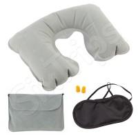 Комплект за пътуване маска, тапи за уши и сива възглавница