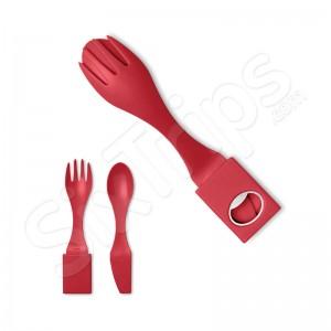 Червен портативен к-кт прибори - вилица, лъжица и ножче