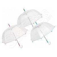 Стилен дамски прозрачен чадър с извита дръжка