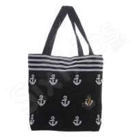 Малка черна плажна чанта на котвички